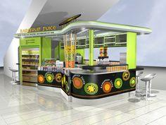 View large : what about a juice bar pop up popup cafe. Fresh Juice Bar, Raw Juice, Fruit Juice, Kiosk Design, Store Design, Juice Bar Design, Food Kiosk, Bar Food, Fruit Stall