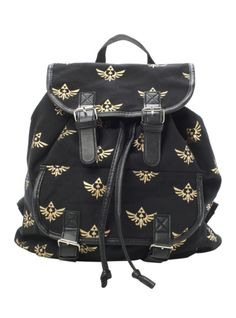 Black slouch backpack from The Legend Of Zelda with Triforce print design. Snap button and drawstring closure.