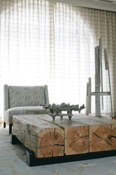 Square log coffee table