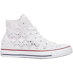 Converse Women Chuck Taylor Crocheted Cotton Sneakers (3.245 UYU) ❤ liked on Polyvore featuring shoes, sneakers, converse, 18. converse., white, white shoes, converse trainers, print shoes, macrame shoes and white crochet shoes