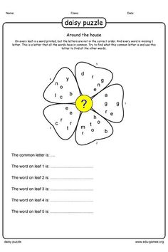 Try to find the common character, so you can unraffle the words in the leafs. Printable Worksheets, Free Printables, Worksheet Generator, Puzzle Maker, English Games, Word Games, Puzzles, Daisy, Teacher