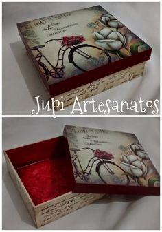 Jupi Artes: Caixa Decoupage Vintage, Napkin Decoupage, Decoupage Box, Mason Jar Crafts, Bottle Crafts, Painted Wooden Boxes, Girls Jewelry Box, Creative Box, Pretty Box