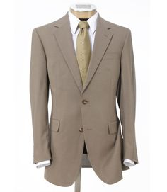 JoS A Bank: Executive 2-Button Wool Suit with Center Vent and Plain Front Trousers