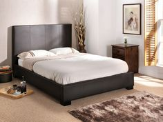 "Snuggle Beds Onyx Brown.  4' 6"" Double Faux Leather Bed"