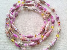 Paper bead jewelry  paper bead necklace  pink by GlossyPapierRecy
