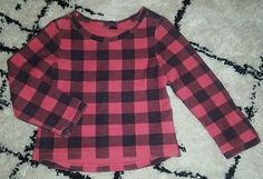 Baby Gap girls 5T hi-lo pink black buffalo plaid sweatshirt