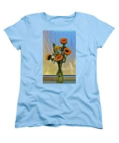 Vase Women's T-Shirt (Standard Cut) featuring the photograph Flowers By The Window by Cynthia Guinn