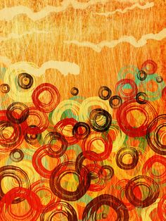 """""""Hope Springs2"""" by Meredith Kilby, Madison, AL // Repeated circular ink brushstrokes in tones of red, orange, brown and blue on hand scratched textured background.  Circles have always held great meaning in my life.   All strokes in this piece were hand made either in ink, digitally created or photographically reproduced. // Imagekind.com -- Buy stunning, museum-quality fine art prints, framed prints, and canvas prints directly from independent working artists and photographers."""