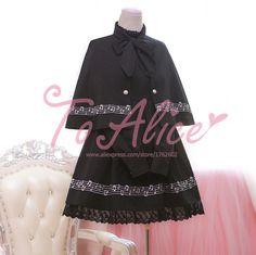 2016 весной каваи девушки музыку к сведению вышивка съемный мыс и платье 2 шт. комплект готическая лолита платье цвет черный