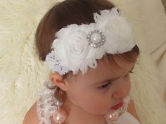 White Shabby Headband with Pearl by HarperSophiaBoutique on Etsy