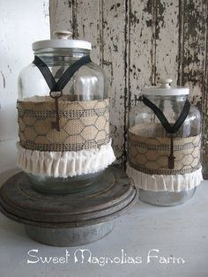 Vintage Farmhouse Pantry  Storage Jar Burlap and Chicken Wire by SweetMagnoliasFarm, $32.00 sold