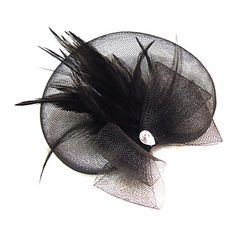 Women Feather/Rhinestone/Net Fascinators With Rhinestone Wedding/Party Headpiece – AUD $ 10.00
