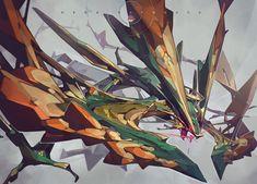 This would be mega primal rayquaza Pokemon Fusion Art, Mega Pokemon, Pokemon Fan Art, Cool Pokemon, Rayquaza Pokemon, Mega Rayquaza, Creature Concept Art, Creature Design, Manga Anime