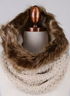 fur trim knit infinity scarf - ivory | our fashion forward fur trim knit infinity scarf is made to keep you warm and cozy and most importantly, in chic style! available in black, grey, or ivory. one size. all man made materials. 100% acrylic. hand wash only | ELEVALE
