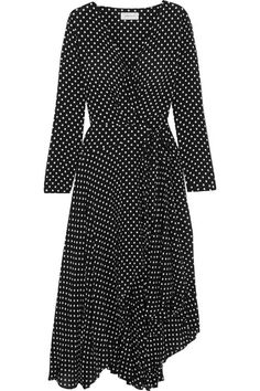 For Spring '17, Nicky Zimmermann draws on childhood memories of making outfits with her friends. This polka-dot crepe dress wraps at the front before cascading to an asymmetric, ruffled hem. Use the belt to define your slimmest point.