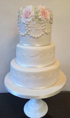 My first fondant wedding cake-including sugar paste rose, sugar lace and dusted pearls