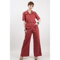 57186ed39d51 Vintage bell bottom flare jumpsuit   1970s Terra cotta light wale corduroy  coveralls   Zip front boilersuit with wide pointed collar   S M
