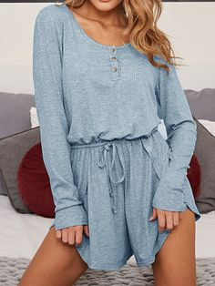 7e864284cfd  ad Blue Ribbed Drawstring Waist Long Sleeve Chic Women Romper Playsuit.  Price   22.99 · Rompers WomenJumpsuits ...