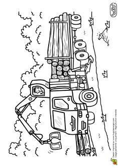 Coloriage d'un dessin affichant un homme et son camion transporteur de bois