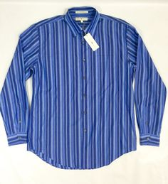 Joseph Abboud Blue Striped Button Front Dress Casual Long Sleeve Shirt L   eBay