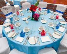 #blue & hot pink wedding table ... Wedding ideas for brides, grooms, parents & planners ... https://itunes.apple.com/us/app/the-gold-wedding-planner/id498112599?ls=1=8 ... plus how to organise your entire wedding ... The Gold Wedding Planner iPhone App ♥