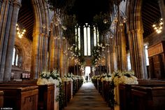 Charming: The cathedral had been transformed by the flowers brought in for Scotland's wedding of the year
