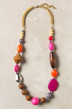 Pieced Prism Necklace - Wood, glass, agate, acrylic, 14k gold plated metal