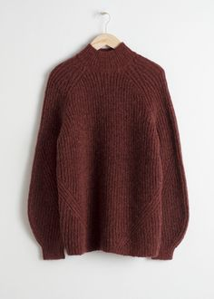 Front image of Stories oversized mock neck sweater in red Cropped Cardigan f8a79e21a