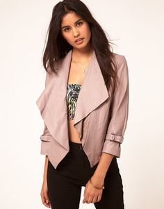 ASOS Leather Jacket With Waterfall Collar - Was £ 120 now £60