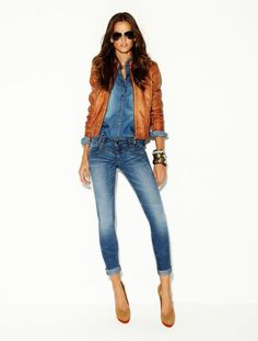 rolled jeans, brown leather jacket!