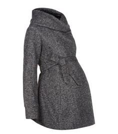 Maternity Grey Jersey Belted Snood Coat