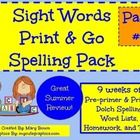 Print-N-Go! (Dolch words Pre-primer and Primer)  51 pages in all!   Ideal for mid-Kindergarten through second grade.   Designed for Classroom or Ho...