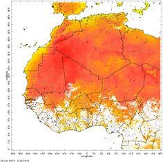 Inferred Maximum Air Temperature at 2m:  The map shows inferred maximum air temperature, one important component for the transmission of malaria (Ceccato et el., 2010). The black points on the map indicate locations of weather stations.