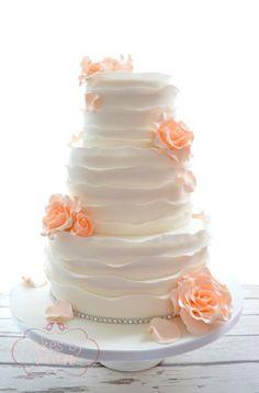 Peach rose and rustic ruffles wedding cake