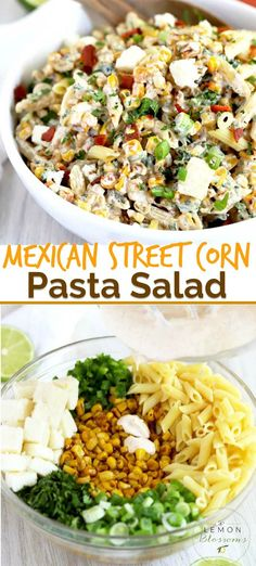 This Mexican Street Corn Pasta Salad is easy to make and loaded with flavor! Charred corn, pasta, jalapenos and cilantro are tossed in a creamy chili-lime dressing and topped with cotija cheese. Keep it vegetarian or top it with crispy bacon! Easy Potluck Recipes, Easy Meals, Cooking Recipes, Healthy Recipes, Healthy Dishes, Food For Potluck, Easy Dishes For Potluck, Easy Vegetarian Pasta Recipes, Healthy Meals