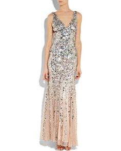 Rachel gilbert Giselle Dégradé Sequined Gown in Silver (blush) | Lyst