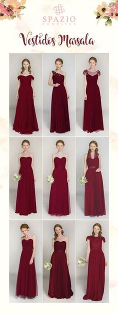 Wedding Ideas affordable wine red long bridesmaid dresses - Here is a large collection of red dresses for your passionate bridesmaids. From deep red, apple red to coral pink, you will find the latest bridesmaid dresses in reds at tulleandchantilly. Wine Color Bridesmaid Dress, Red Bridesmaids, Wedding Bridesmaid Dresses, Prom Dresses, Bridemaid Dresses Long, Bride Maid Dresses, Burgundy Bridesmaid Dresses Long, Affordable Bridesmaid Dresses, Bridesmaid Ideas