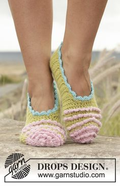 "Irina Ballerina. #Crochet DROPS slippers with lace in 2 strands ""Alpaca"". Free Pattern"