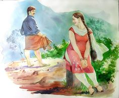 Oil Painting Tips Key: 7919424055 Indian Women Painting, Indian Art Paintings, Cool Paintings, Sexy Painting, Painting Of Girl, Painting Tips, Romance Art, Art Painting Gallery, Cartoon Girl Drawing