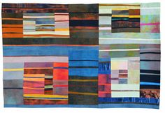 """Kit Vincent Textile Art   Fastwater - Last Light  42x60"""" hand-dyed cottons and silks,  machine pieced and intensely quilted"""