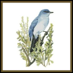 Nevada State Bird and Flower Counted Cross Stitch Pattern - Mountain Bluebird and Sagebrush