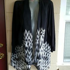 Jacket 1xl $11 Sunny Leigh brand Size 1xl Chiffon front and back Knit arms and on bottom of back Handkerchief front Plus size Sunny Leigh Jackets & Coats Blazers