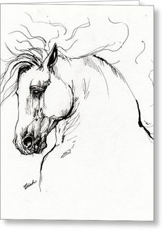 Andalusian Horse Drawing 1 Greeting Card by Angel  Tarantella