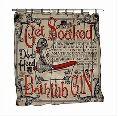 Get Soaked Bath Tub of Gin Vintage Shower Curtain