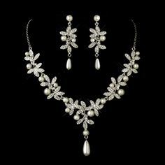 Antique Silver Plated Diamond White Pearl Wedding Jewelry Set - just lovely!  - Affordable Elegance Bridal -