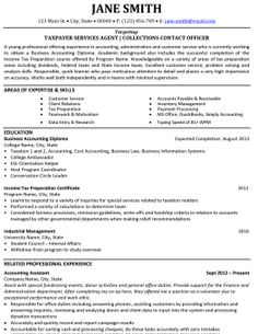Click Here To Download This Taxpayer Services Agent Resume Template!  Http://www  Sample Resume Accounting