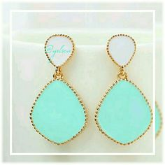 Mint white Candy color enamel, stud post Gorgeous fun warm weather accessory. Candy color mint and white that drop from a hypoallergenic stud post. 2 if this color available. Discounts given on bundles. boutique  Jewelry Earrings