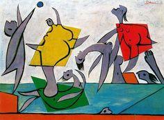 """""""Beach game and rescue"""" Peinture de l'artiste Pablo Picasso 1932"""