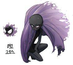 #92. Gastly (humanized/gijinka pokemon series by tamtamdi on tumblr)
