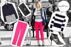 Sarah Rutson: pantaloni Christopher Kane, giacca Stella McCartney, clutch Salvatore Ferragamo, top Ralph Lauren, scarpe Jimmy Choo